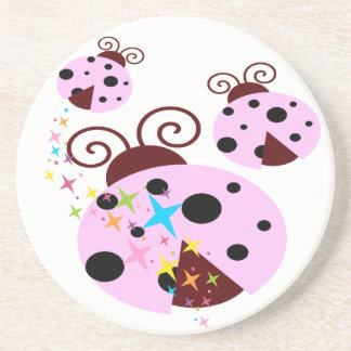 Three pink and black ladybug with stars coaster