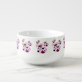 Three pink and black ladybug with stars soup mug