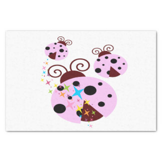 Three pink and black ladybug with stars tissue paper