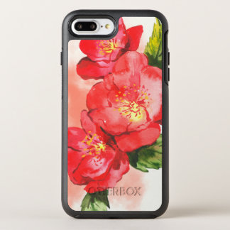 Three Pink and Red Watercolor Roses OtterBox Symmetry iPhone 8 Plus/7 Plus Case