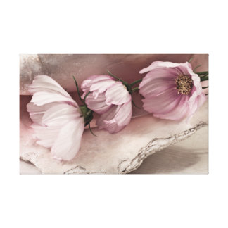 Three Pink Cosmos Gallery Wrapped Canvas