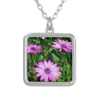 Three Pink Daisy Flowers Silver Plated Necklace