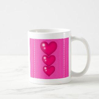 Three Pink Hearts (valentine's Day) Coffee Mug