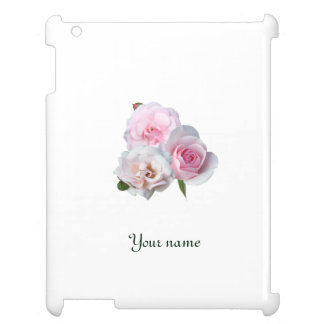 Three pink roses. Add your text. iPad Case