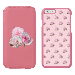 Three pink roses. Floral pattern. Add name. Incipio Watson™ iPhone 6 Wallet Case