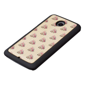 Three pink roses. Floral pattern. Wood Phone Case