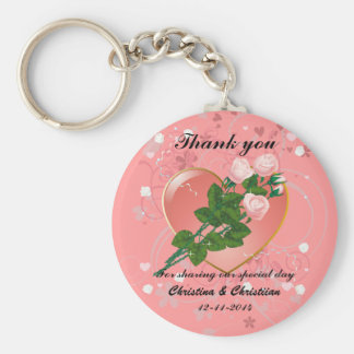 Three Pink  Roses Wedding Guest Thank You Basic Round Button Key Ring