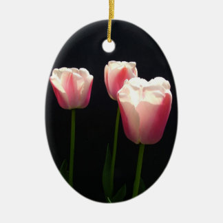 Three pink tulip flowers.  Christmas, holidays. Christmas Ornaments