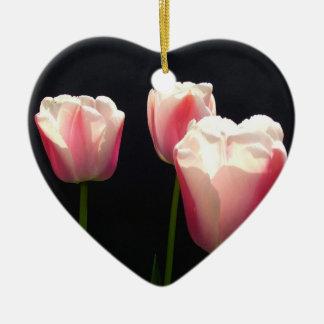 Three pink tulip flowers.  Christmas, holidays. Christmas Tree Ornament