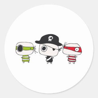 Three pirates round sticker