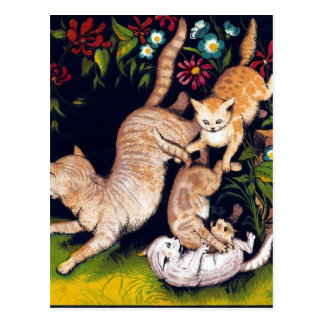 Three Playful Cats Postcards