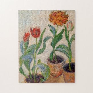 Three Pots of Tulips Monet Fine Art Puzzle