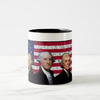 Three Presidents and The American Flag Two-Tone Coffee Mug