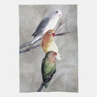 Three Pretty Lovebirds Tea Towel