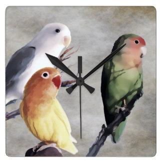 Three Pretty Lovebirds Wallclock
