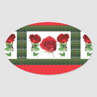 Three PRETTY Roses Oval Stickers