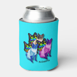 Three Psychedelic Cats With Butterfly Wings Cool Can Cooler