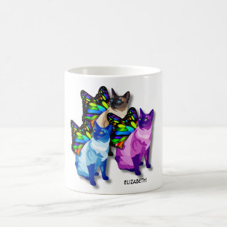 Three Psychedelic Cats With Butterfly Wings Cool Coffee Mug