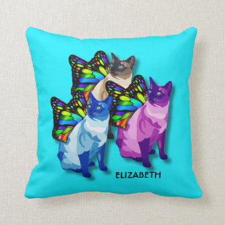 Three Psychedelic Cats With Butterfly Wings Cool Cushion