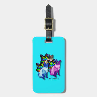 Three Psychedelic Cats With Butterfly Wings Cool Luggage Tag