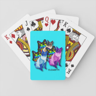 Three Psychedelic Cats With Butterfly Wings Cool Playing Cards