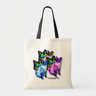 Three Psychedelic Cats With Butterfly Wings Cool Tote Bag