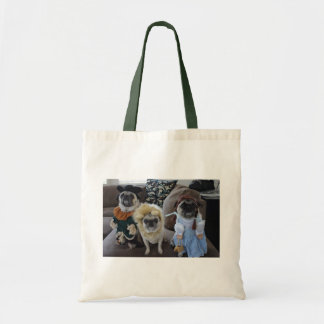 Three Pugs dressed for Halloween Budget Tote Bag