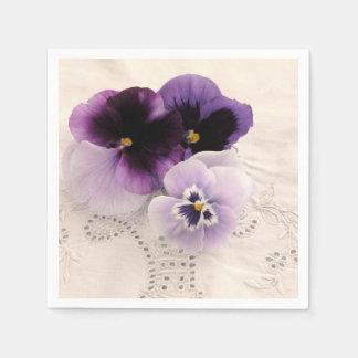 Three purple pansies paper napkin