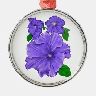 Three Purple Petunias Metal Ornament