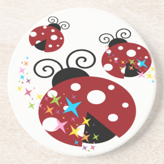 Three red and black ladybug with stars coaster