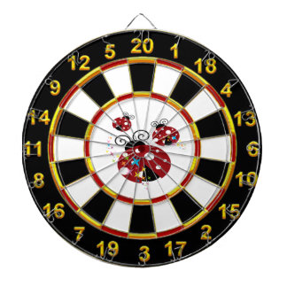 Three red and black ladybug with stars dartboard