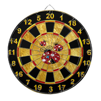 Three red and black ladybug with stars gold dartboard