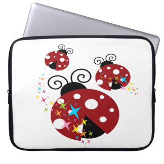 Three red and black ladybug with stars laptop sleeve