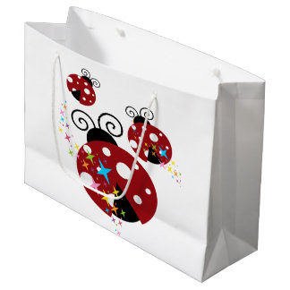 Three red and black ladybug with stars large gift bag