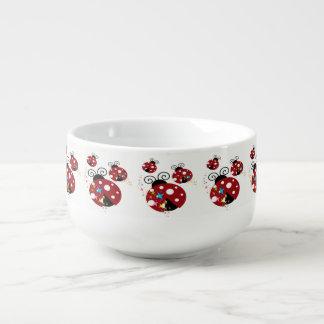 Three red and black ladybug with stars soup mug