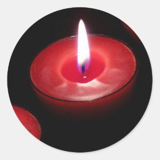 Three Red Candles Round Sticker