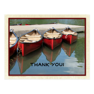 Three Red Canoes Thank You Black Letters Postcard