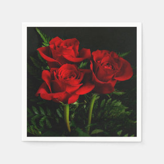 Three Red Roses Paper Knapkins Disposable Serviette