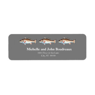 Three Redfish on Gray Return Address Label
