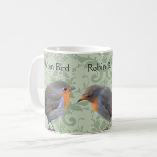 Three Robin bird on light green damask  pattern Coffee Mug