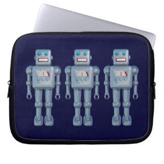 Three Robots on Dark Navy Laptop Computer Sleeve