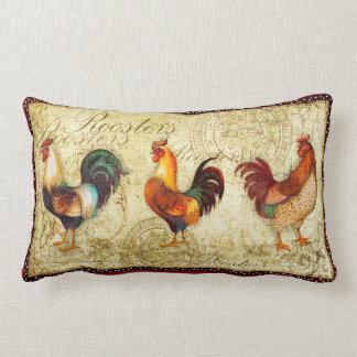 Three Roosters Lumbar Pillow