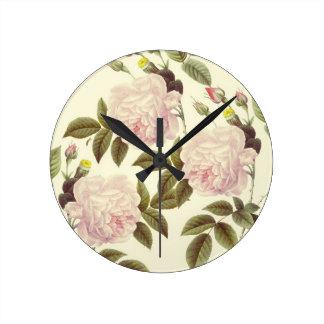 Three Rose Cream Wall Clock