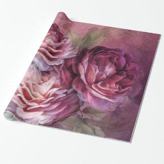 Three Roses Burgundy Art Gift Wrap