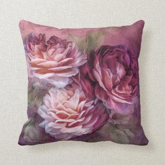 Three Roses - Burgundy - Designer Art Pillow Cushions