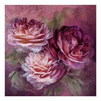 Three Roses - Burgundy - Fine Art Poster/Print Poster
