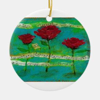 Three Roses for My Love Round Ceramic Decoration