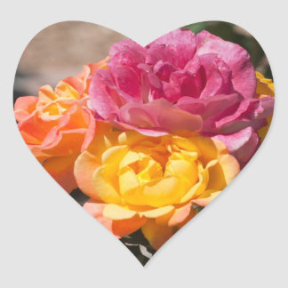 Three Roses Heart Sticker