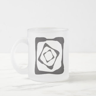 Three rough squares all in all frosted glass mug