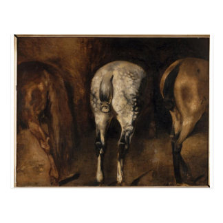 Three rumps of horses by Theodore Gericault Postcard